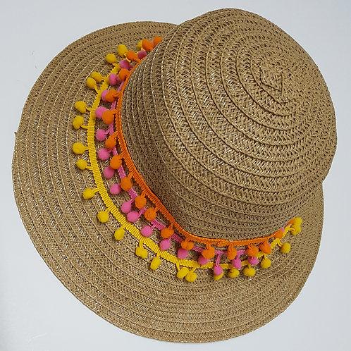 כובע קש פונפונים