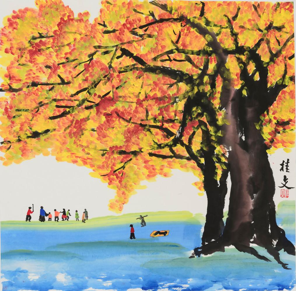 大樹好遮蔭  Under The Shade of Big Trees 69 x 69 cm