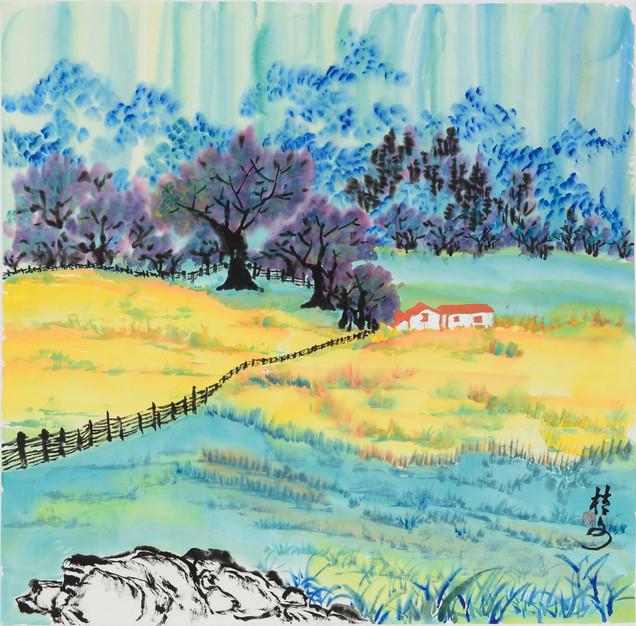 鄉土風情 (一) Village Scene 1 69 x 69 cm