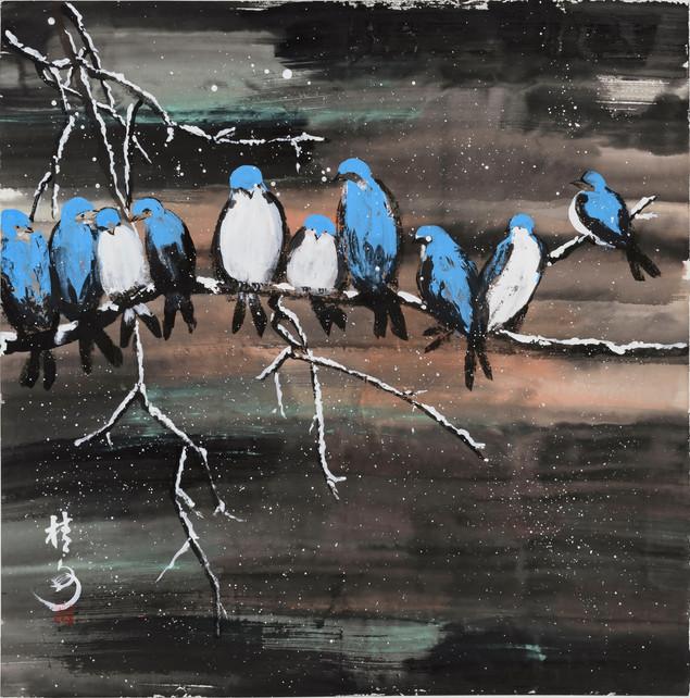雪夜鳥歸林  Birds In Snowy Night 69 x 69 cm