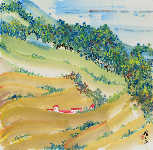 鄉土風情 (二) Village Scene 2 69 x 69 cm