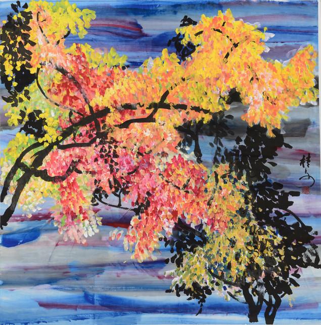 黃葉舞秋風 Autumn Leaves 69 x 69 cm