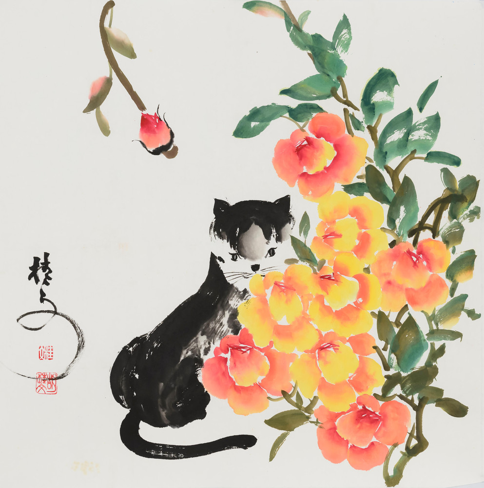 花貓 Cat and Roses 69 x 69 cm