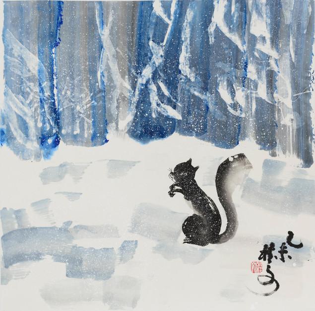 風雪中  In Midst of Snowstorm 69 x 69 cm