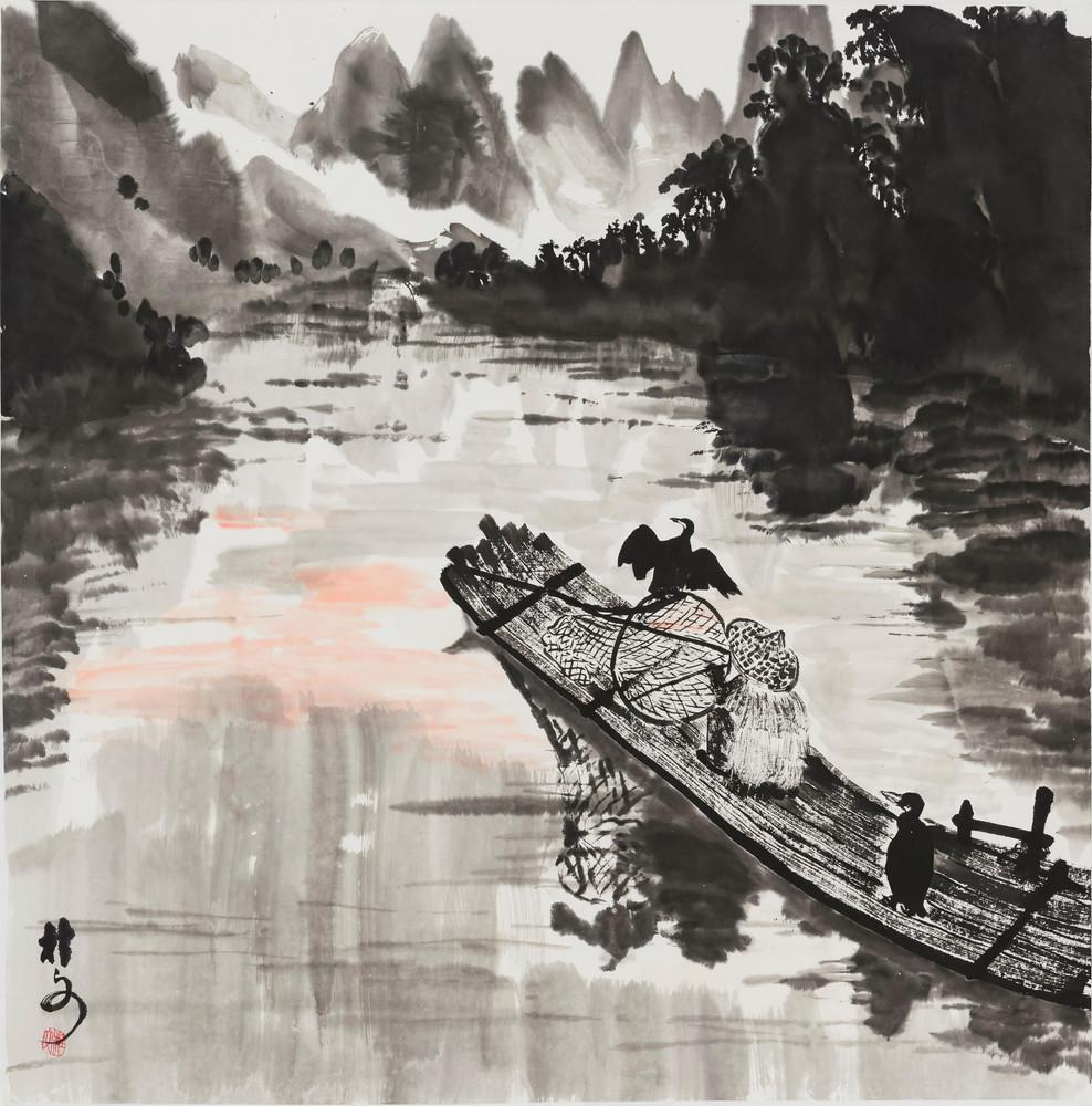 漁舟唱晚 A Fishman's Song 69 x 69 cm