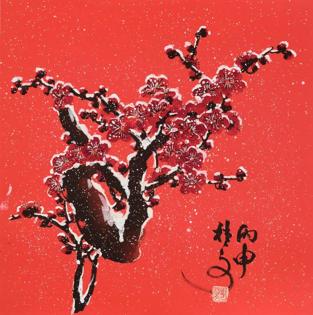 雪梅 Plum Blossom in Snow 69 x 69 cm