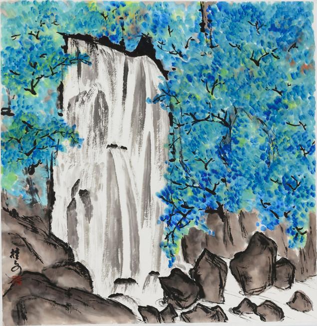飛瀑清泉 Waterfall 69 x 69 cm