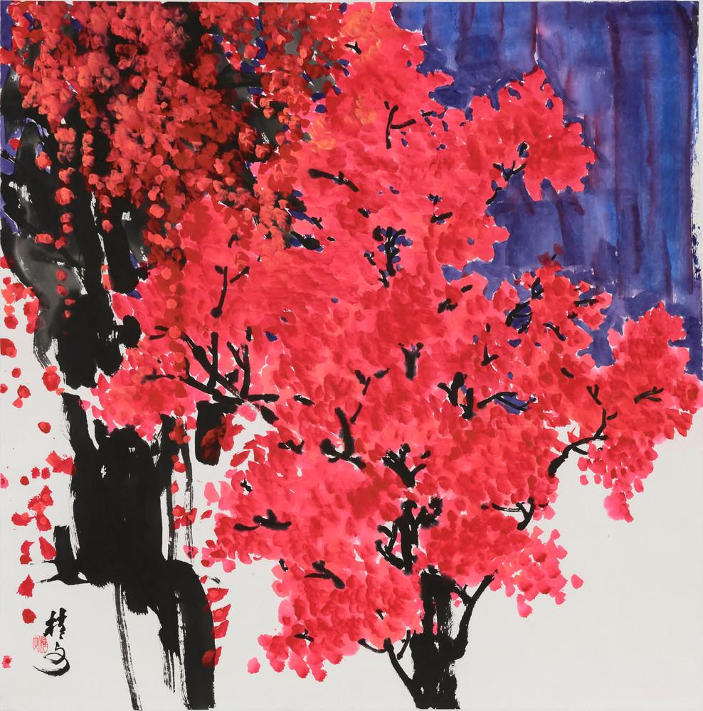 秋葉紅 Red Autumn Leaves 69 x 69 cm