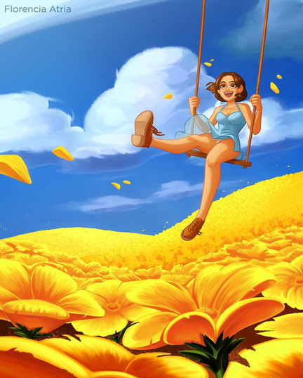 Swing and flowers