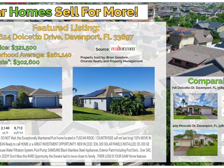 Solar Homes Sell for More: 624 Dolcetto Drive, Davenport, FL 33897
