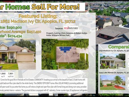 Solar Homes Sell for More: 1862 Madison Ivy Cir, Apopka, FL 32712