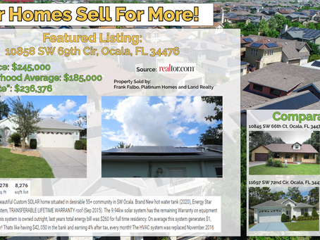 Solar Homes Sell For More: 10858 SW 69th Cir, Ocala, FL 34476