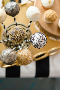 Black, White and Gold Cake Pops