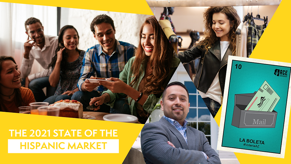 2021 State of the Hispanic Market. Latinos sharing food, shopping, voting.