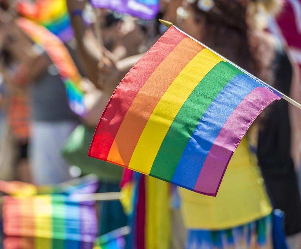 Waving rainbow Pride flag