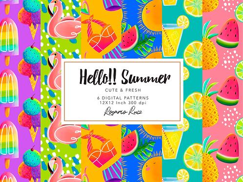Summer Digital paper - tropical pattern - sun papers - summer printable