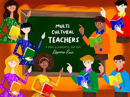 Multi cultural Teachers clipart - afro teacher - asian teacher - Hispanic