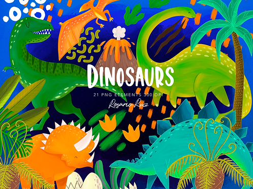 Dinosaur Clipart, Cute Dinos Clipart, T-rex, Triceratops, Brontosaurus