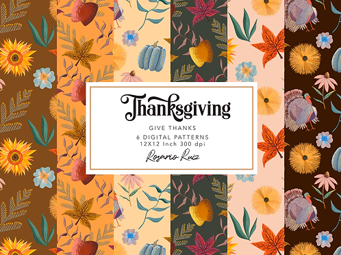 Thanksgiving digital paper - Autumn papers - fall papers