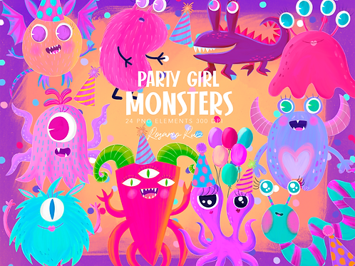 Girly Monsters Clipart Set, cute monsters clip art, party pink monsters