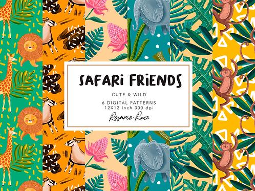 Safari Digital paper - tropical pattern Digital paper animals