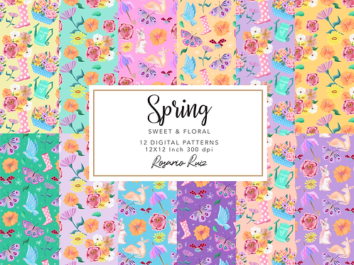 Spring digital paper, Spring Pastel papers, spring flowers, ladybug, butterfly