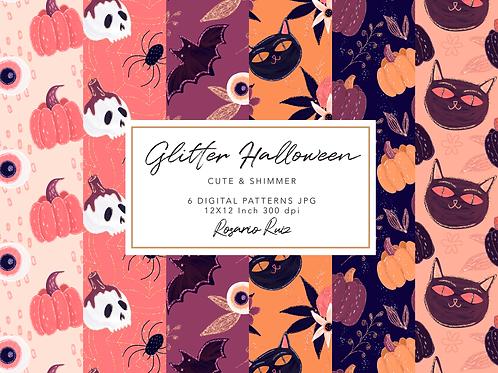 Glitter Halloween Digital paper - pattern Halloween - Pink Halloween Paper