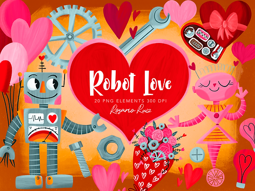 Valentine Robot Clipart, Love Robot, Robot clipart, Love clipart