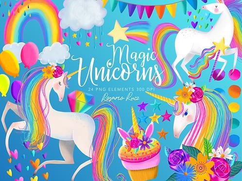 Unicorn clipart rainbow clip art magical nursery unicorn, party balloons