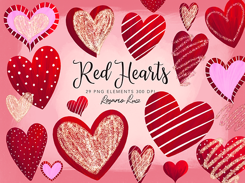 Red Hearts Clipart - Sublimation PNG - Valentines Clip Art - Glitter heart