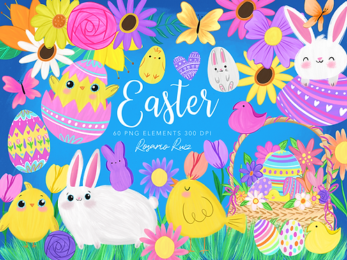 Easter clipart, Easter Bunny Clipart, Easter Chicks Clipart, Easter Eggs
