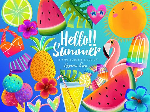 Summer Clipart, cute sun - clip art summer -  flamingo- watermelon