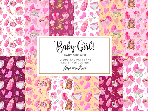 Baby Girl paper - Baby Shower paper - Baby sloth - Birth announcement