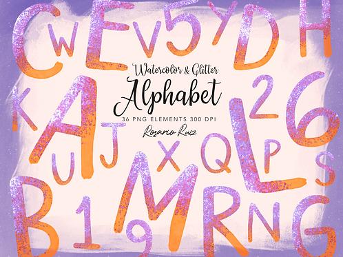 Watercolor Orange Alphabet Clipart Glitter, Shimmering Alphabet Clipart, PNG