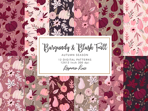 Burgundy Fall digital paper - Blush Autumn papers set, fall scrapbook paper