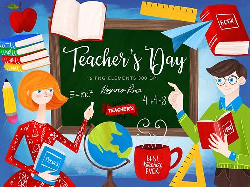 Teachers clipart - School Classroom clipart - Teacher mug - school elements