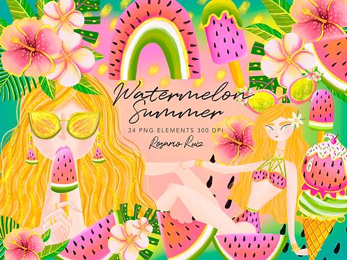 Watermelon Summer Clipart - clip art summer fashion girl -  fashion summer