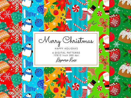 Christmas digital papers, Santa, Rudolf, Snowman, Presents, Poinsettia