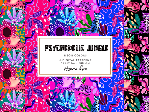 Coloful Jungle Digital Papers , Pink tiger - pink papers jungle friends