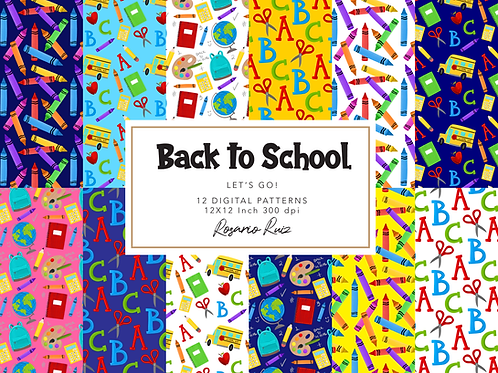 Back to school papers - School digital paper - school bus - school elements