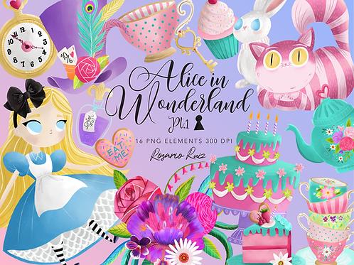 Alice in wonderland tea  Clipart, tea cup, white rabbit, tea party