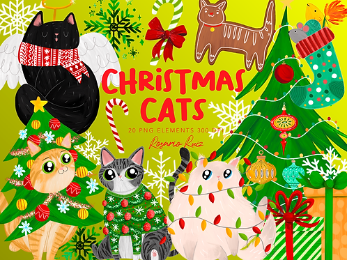 Cat Christmas Clipart, Funny cats clipart, Gingerbread cat, ugly sweater