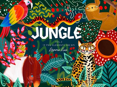 Jungle Clipart, Jaguar - leopard - clip art jungle friends -sloth- snake -parrot