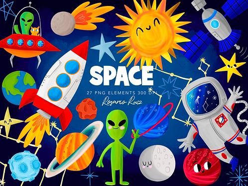 Space Clipart, Outer Space Clip Art, Astronaut Clipart, Planet Clipart, Alien
