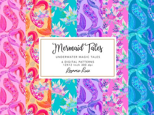 Mermaid digital paper - Mermaid Tails scales - Mermaid paper set