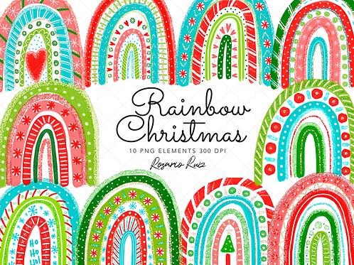 Rainbow Christmas clipart - Christmas clipart - Rainbows Clip Art