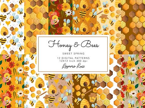 Bees digital paper - Bee paper , honey paper, spring bees paper, scrapbook