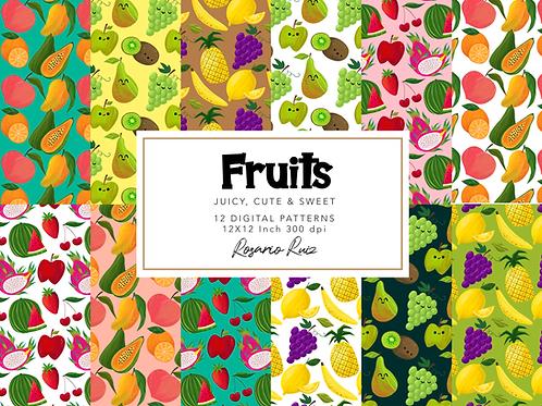 Fruits Digital paper - Cute fruits Kawaii, Food paper, strawberry, apple, fruit