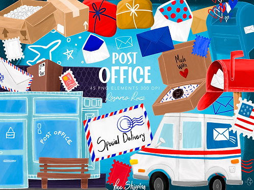 Delivery Clipart, Post Office illustration, Mail Clipart, Package