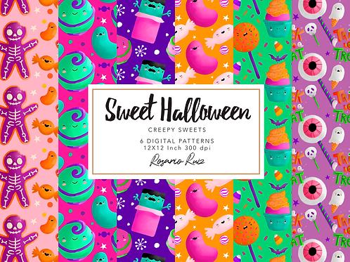 Halloween Sweets Digital paper - pattern Halloween - Candy Halloween Paper